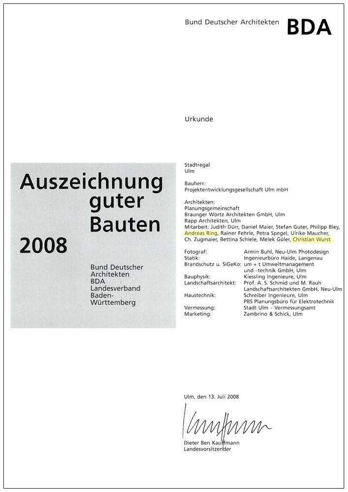Architekten Ulm auszeichnungen und erwähnungen architektenwerk